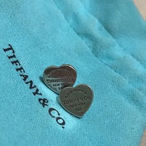Authentic Tiffany & Co mini heart tag earrings